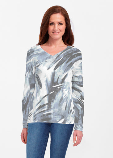Brush Strokes Black (17167) ~ Classic V-neck Long Sleeve Top
