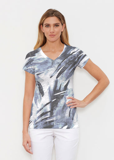 Brush Strokes Black (17167) ~ Signature Cap Sleeve V-Neck Shirt