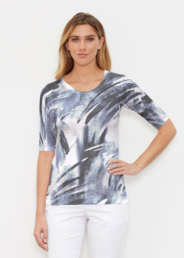 Brush Strokes Black (17167) ~ Elbow Sleeve Crew Shirt