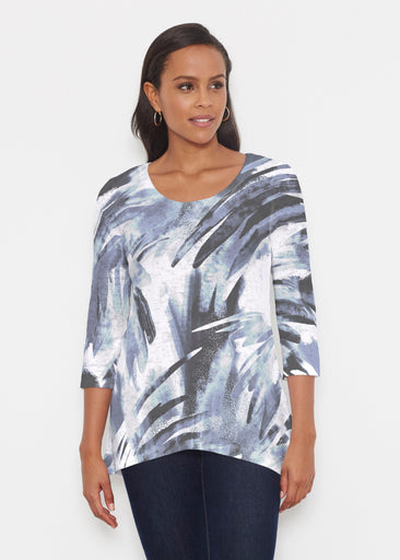 Brush Strokes Black (17167) ~ Katherine Hi-Lo Thermal Tunic