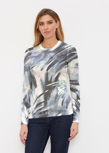 Brush Strokes Black (17167) ~ Butterknit Long Sleeve Crew Top