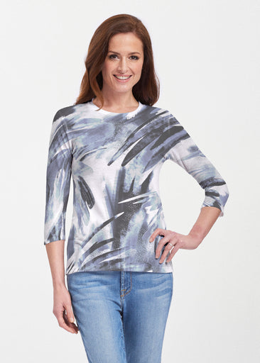 Brush Strokes Black (17167) ~ 3/4 Sleeve Crew