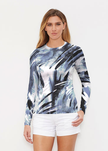 Brush Strokes Black (17167) ~ Long Sleeve Rash Guard