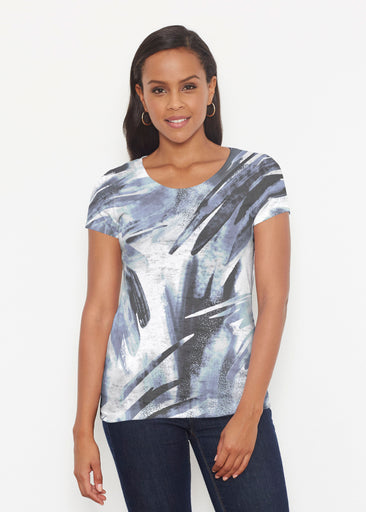 Brush Strokes Black (17167) ~ Short Sleeve Scoop Shirt