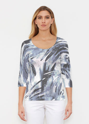Brush Strokes Black (17167) ~ Signature 3/4 Sleeve Scoop Shirt