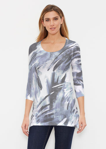 Brush Strokes Black (17167) ~ Buttersoft 3/4 Sleeve Tunic