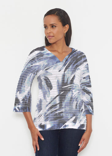 Brush Strokes Black (17167) ~ Banded 3/4 Bell-Sleeve V-Neck Tunic