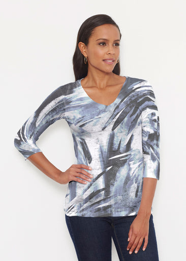Brush Strokes Black (17167) ~ Signature 3/4 V-Neck Shirt