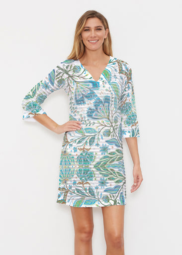 Spring Fantasy Green (17172) ~ Banded 3/4 Sleeve Cover-up Dress