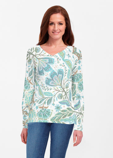 Spring Fantasy Green (17172) ~ Classic V-neck Long Sleeve Top