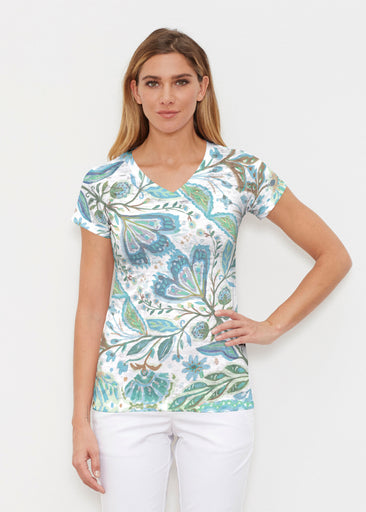 Spring Fantasy Green (17172) ~ Signature Cap Sleeve V-Neck Shirt