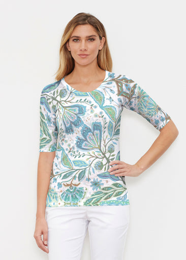 Spring Fantasy Green (17172) ~ Elbow Sleeve Crew Shirt