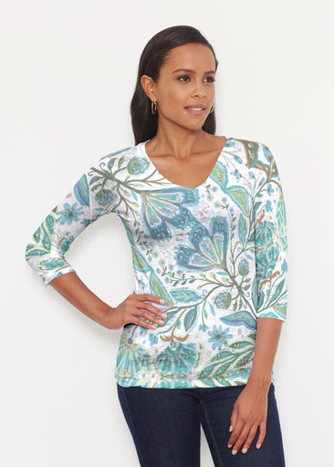 Spring Fantasy Green (17172) ~ Signature 3/4 V-Neck Shirt