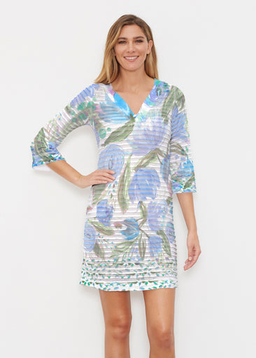 Monet Blue (17178) ~ Banded 3/4 Sleeve Cover-up Dress