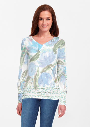 Monet Blue (17178) ~ Classic V-neck Long Sleeve Top