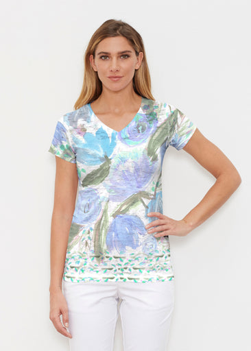 Monet Blue (17178) ~ Signature Cap Sleeve V-Neck Shirt