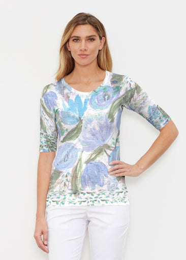 Monet Blue (17178) ~ Signature Elbow Sleeve Crew Shirt