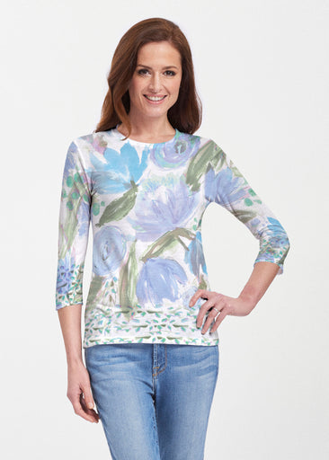 Monet Blue (17178) ~ Premium 3/4 Sleeve Crew