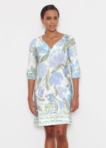 Monet Blue (17178) ~ Classic 3/4 Sleeve Sweet Heart V-Neck Dress