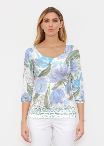 Monet Blue (17178) ~ Signature 3/4 Sleeve Scoop Shirt