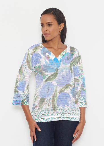 Monet Blue (17178) ~ Banded 3/4 Bell-Sleeve V-Neck Tunic