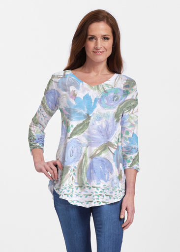 Monet Blue (17178) ~ Signature V-neck Flowy Tunic
