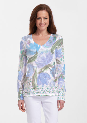 Monet Blue (17178) ~ Thermal Long Sleeve V-Neck Shirt