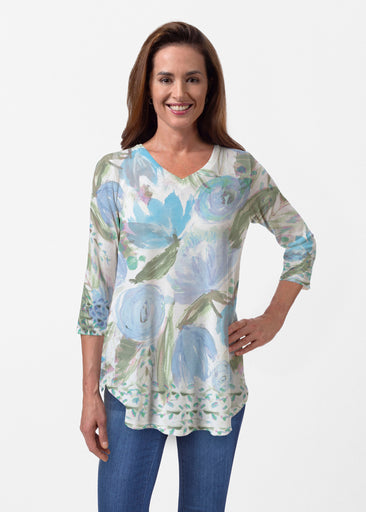 Monet Blue (17178) ~ Butterknit V-neck Flowy Tunic