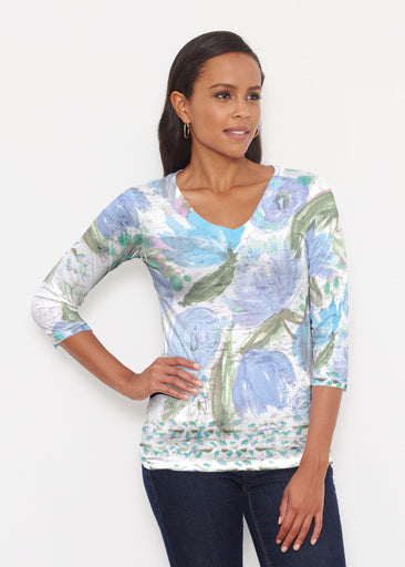 Monet Blue (17178) ~ Signature 3/4 V-Neck Shirt