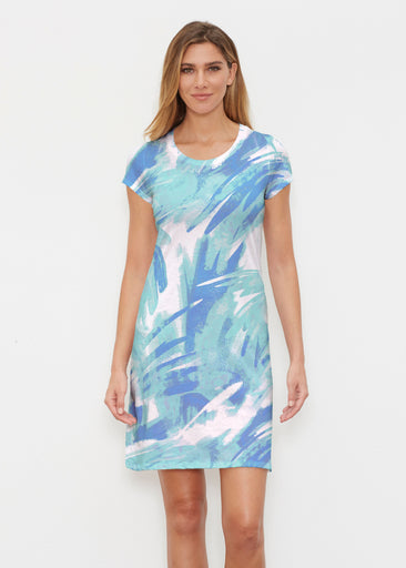 Brush Strokes Aqua (17185) ~ Classic Crew Dress