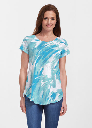 Brush Strokes Aqua (17185) ~ Signature Short Sleeve Scoop Neck Flowy Tunic