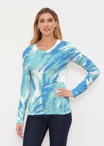 Brush Strokes Aqua (17185) ~ Thermal Long Sleeve Crew Shirt
