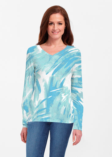 Brush Strokes Aqua (17185) ~ Classic V-neck Long Sleeve Top