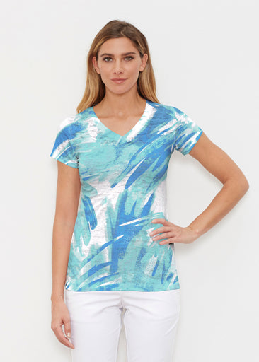 Brush Strokes Aqua (17185) ~ Signature Cap Sleeve V-Neck Shirt