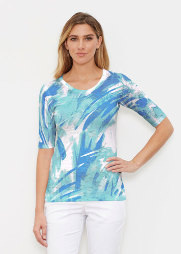 Brush Strokes Aqua (17185) ~ Elbow Sleeve Crew Shirt