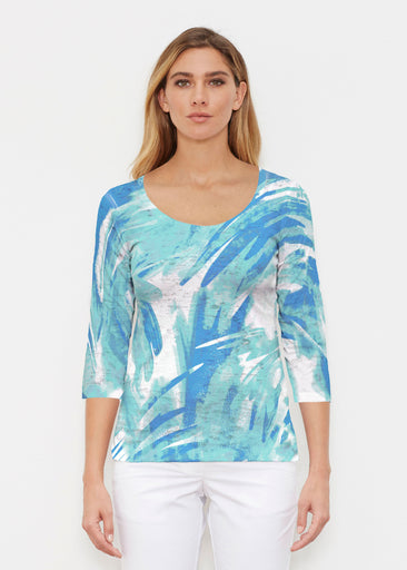Brush Strokes Aqua (17185) ~ Signature 3/4 Sleeve Scoop Shirt