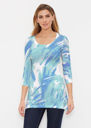 Brush Strokes Aqua (17185) ~ Buttersoft 3/4 Sleeve Tunic