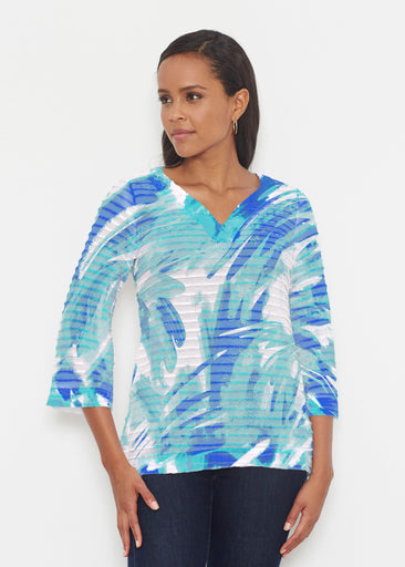 Brush Strokes Aqua (17185) ~ Banded 3/4 Bell-Sleeve V-Neck Tunic