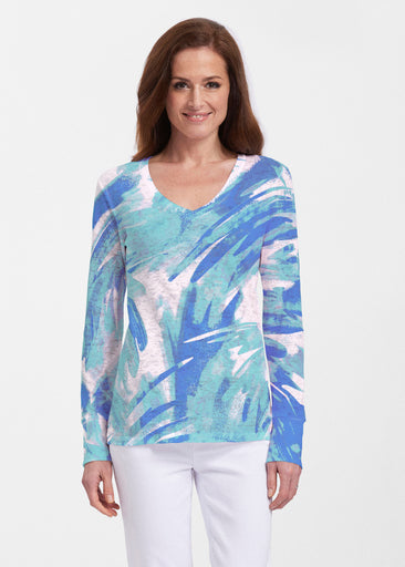 Brush Strokes Aqua (17185) ~ Thermal Long Sleeve V-Neck Shirt