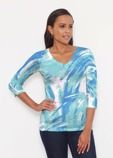 Brush Strokes Aqua (17185) ~ Signature 3/4 V-Neck Shirt