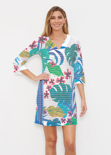 Jungle Stripe (17186) ~ Banded 3/4 Sleeve Cover-up Dress