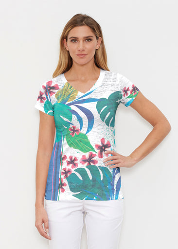 Jungle Stripe (17186) ~ Signature Cap Sleeve V-Neck Shirt