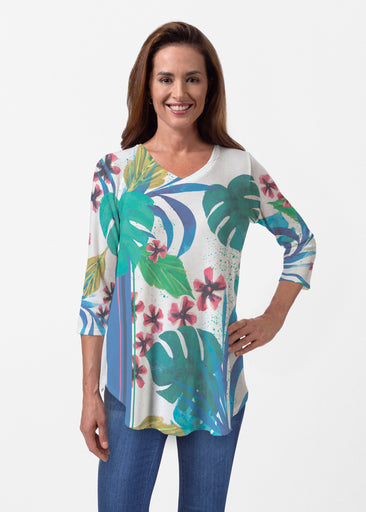 Jungle Stripe (17186) ~ Butterknit V-neck Flowy Tunic