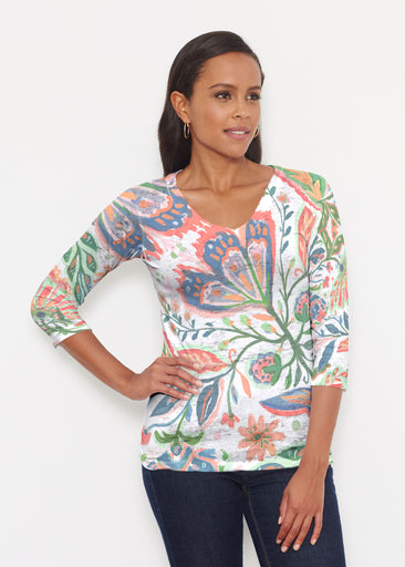 Spring Fantasy Pink (17225) ~ Signature 3/4 V-Neck Shirt