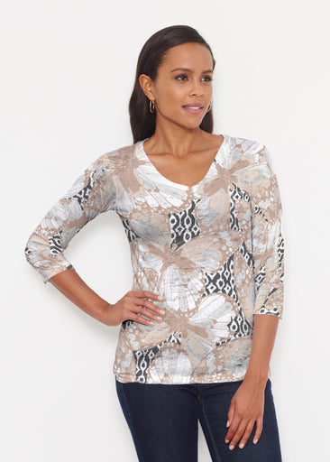 Ikat Butterfly Beige (19138) ~ Signature 3/4 V-Neck Shirt