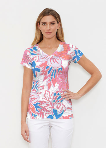 Hot Tropics (19153) ~ Signature Cap Sleeve V-Neck Shirt