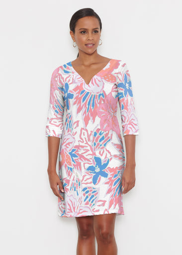 Hot Tropics (19153) ~ Classic 3/4 Sleeve Sweet Heart V-Neck Dress