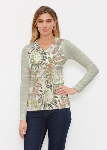 Jungle Escape (19156) ~ Butterknit Long Sleeve V-Neck Top
