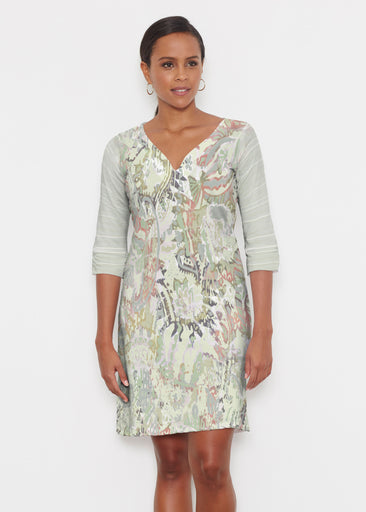 Jungle Escape (19156) ~ Classic 3/4 Sleeve Sweet Heart V-Neck Dress