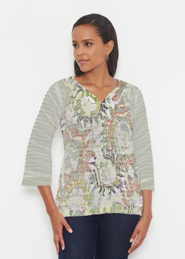 Jungle Escape (19156) ~ Banded 3/4 Bell-Sleeve V-Neck Tunic